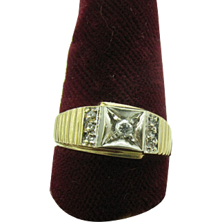 Men's 14K gold and Platinum Diamond ring