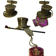 Rare set My Fair Lady cuff links and pin Professor Higgins hat,glove, cane with Tags BSK