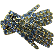 Monet Gloves pin gold tone and blue rhinestones