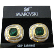 Estate find vintage Swarovski Green crystal earrings