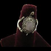 Vintage sterling Turtle ring with rose quartz center
