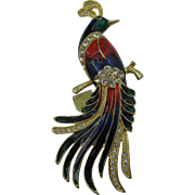 Really large enameled Bird brooch very colorful