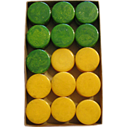 Bakelite/ Catalin  Checkers in Original box Yellow and green