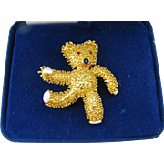 Vintage Camrose & Kross JBK Teddy Bear pin in original box with certificate