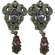 1928 Jewelry Company Earrings Marcasite and amethyst drops
