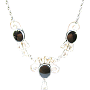 STAR-ART Sterling silver necklace black onyx and rhinestone