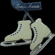 Sonia Henie leather skate pin