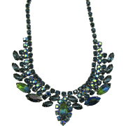 Beautiful Blue rhinestone necklace with molded leafs