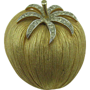 Corocraft large gold tone Apple brooch