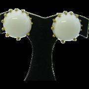 Estate Schiaparelli earrings Large white button