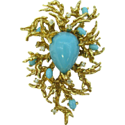 Large vintage 60's Panetta Branch Brooch with faux turquoise and rhinestones