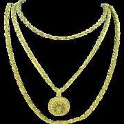 Vintage Unique Three strand Russian Gold tone Miriam Haskell locket necklace