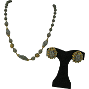 Miriam Haskell Deep gray beaded Necklace and earring set