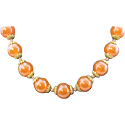 Beautiful Strand of Carnelian Beads hand knotted with 14K clasp