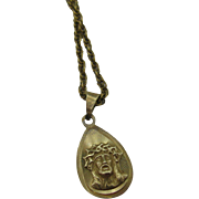 18K Gold Religious Medal Christ on 18k chain
