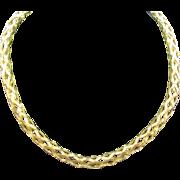 Vintage gold over sterling open weave necklace