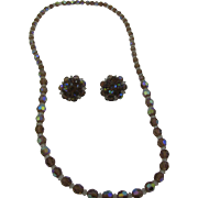 Vintage Laguna AB crystal necklace and earrings