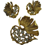 Pretty gold tone and rhinestone fall leaf Pin and earrings