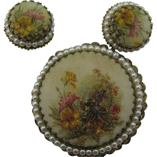 West Germany Pin and earrings set with glass beads