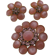 Beautiful Judy Lee Moonglow Pink Pin and earring set