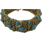 Ciner Magnificent Faux Turquoise Cabochons Bracelet Top Of the Line