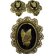 Alice Caviness Butterfly Cameo set Pin and earrings