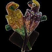 Wonderful Vintage Kirk's Folly Shoulder pin Two Parrots having a conversation