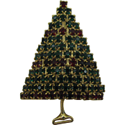 Pretty all prong set Red and Green Christmas tree pin