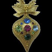 Doods Christmas Ornament Brooch Multi colored rhinestones