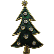 Lia Christmas tree brooch enameled green clear rhinestones