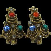 Christmas Tree vintage clip earrings