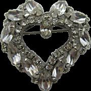 Large Clear rhinestone Heart Pin
