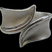 Crown Trifari Clamper Bracelet Modern design Silver tone