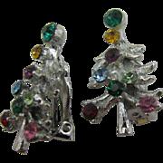 Silver tone Multi stone Clip on Christmas tree Earrings