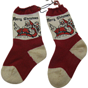Vintage 1930's Merry Christmas tiny knit stockings