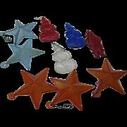 9 Vintage 1950's 60's Plastic ornaments Snowman, Santa, stars