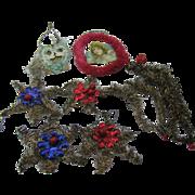Victorian scrap paper and tinsel ornaments lot of 11
