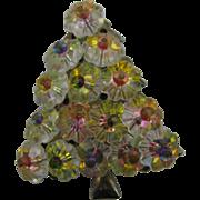 Vintage AB Rivoli RHINESTONE Christmas Tree Pin / Brooch