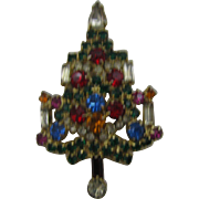 Beautiful Warner all Rhinestone Christmas tree pin
