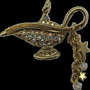 Retired Signed Kirk's Folly Magic Genie/ Aladdin Lamp Brooch