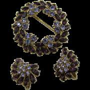 Crown Trifari Purple Wreath pin and earring set