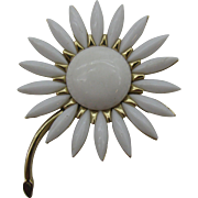Crown Trifari Milk glass navette flower pin