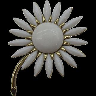 Crown Trifari Milk glass navette flower pin