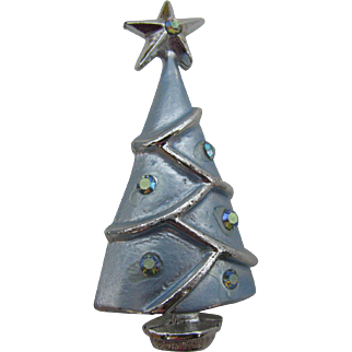 Frosty Blue Christmas tree pin with AB stones