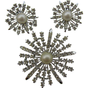 Judy Lee snow flakes pin and earring set