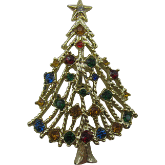 Vintage Gold tone open branch Christmas tree pin