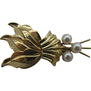 14k Gold Brooch with Real Pearls