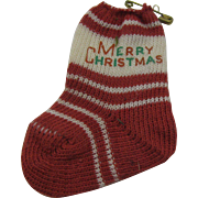 1940's Christmas Stocking knit Merry Christmas