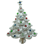 Gerry's Christmas tree pin in silver tone with enameled ornaments