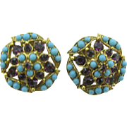 FLORENZA Beautiful Turquoise blue and purple clip earrings